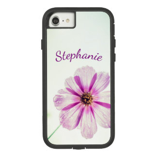 Bright Purple, Pink Flower Background with Name Case-Mate Tough Extreme iPhone 8/7 Case