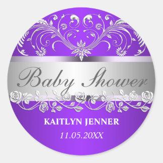 Bright Purple Silver Flourish Floral Baby Shower Round Sticker