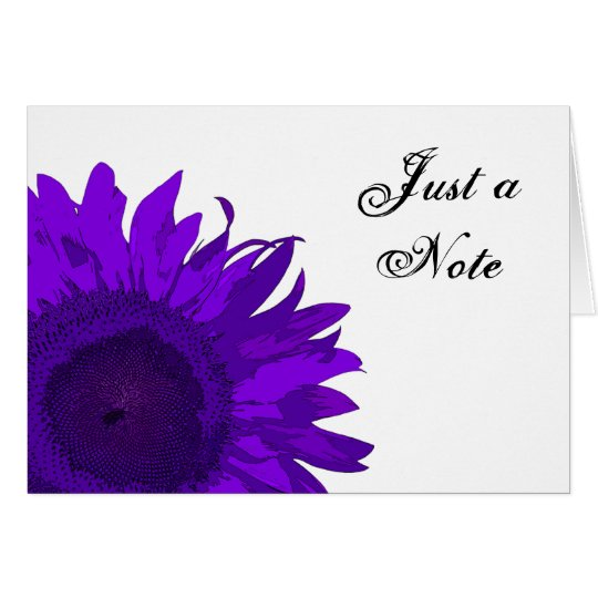 Bright Purple Sunflower Just a Note Card