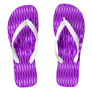 Bright purple white mod pattern flip flops