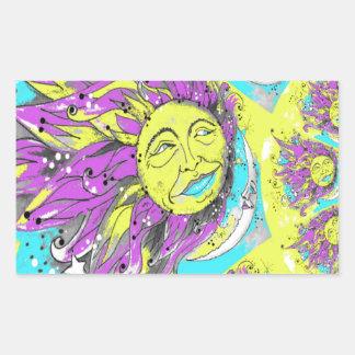 Bright Purple & Yellow Sun & Moon Design Rectangular Sticker