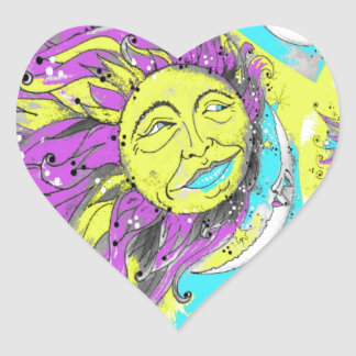 Bright Purple & Yellow Sun & Moon Design Stickers