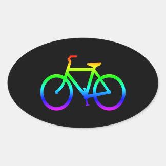 Bright Rainbow Bicycle Oval Sticker