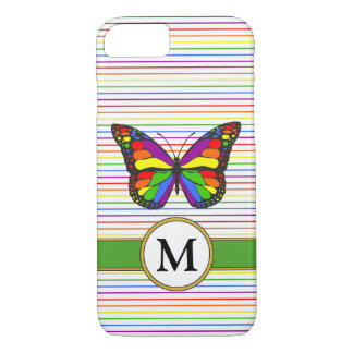 Bright Rainbow Butterfly Pinstripe Custom Monogram iPhone 8/7 Case