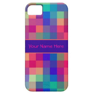 Bright Rainbow Checks Pattern Barely There iPhone 5 Case