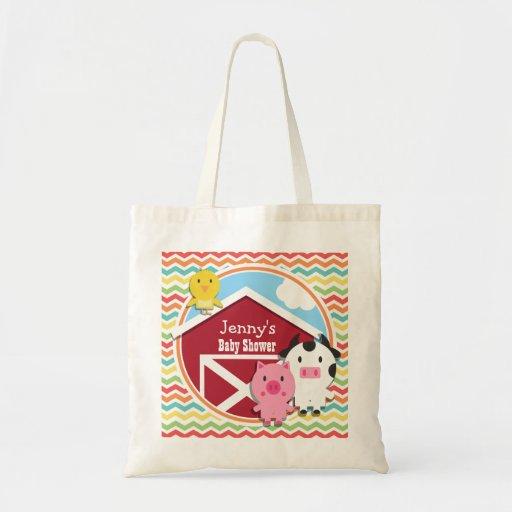 Bright Rainbow Chevron Farm Theme Baby Shower Bags