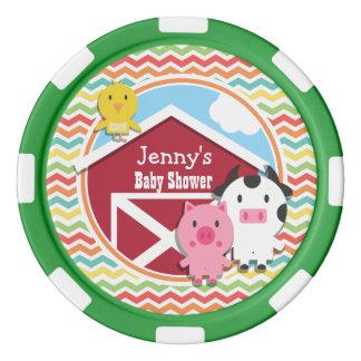 Bright Rainbow Chevron Farm Theme Baby Shower Poker Chip Set