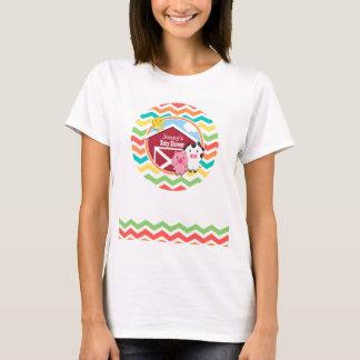Bright Rainbow Chevron Farm Theme Baby Shower T-Shirt