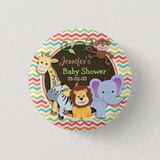 Bright Rainbow Chevron Zoo Animals Baby Shower 3 Cm Round Badge