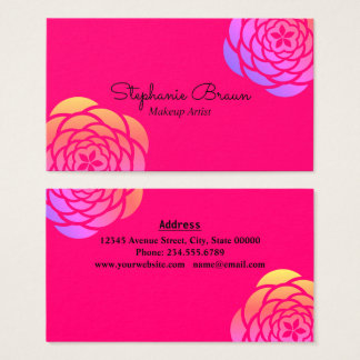 Bright Rainbow Color Floral Border Business Card