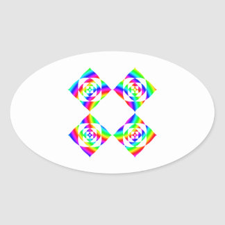 Bright Rainbow Color Flowers. On White. Oval Sticker