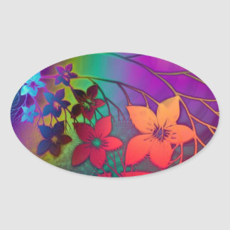 Bright rainbow colored floral design oval sticker