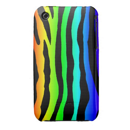 Bright Rainbow Colored Zebra Stripes iPhone 3 Covers