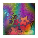 Bright rainbow coloured floral design small square tile