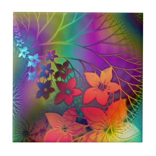Bright rainbow coloured floral design tile