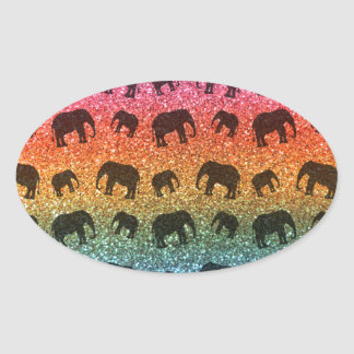 Bright rainbow elephant glitter pattern oval sticker