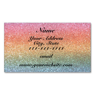 Bright rainbow glitter magnetic business cards (Pack of 25)
