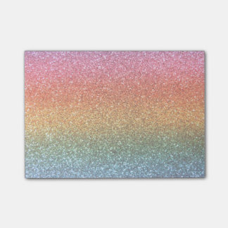 Bright rainbow glitter post-it notes