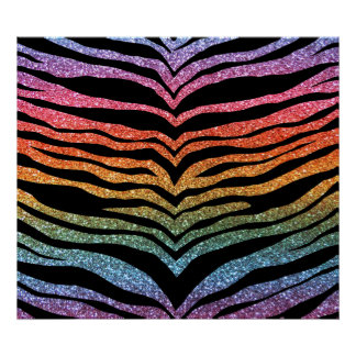 Bright rainbow glitter tiger stripes poster