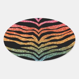 Bright rainbow glitter tiger stripes sticker