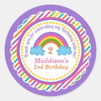 Bright rainbow kids girls birthday stickers favour