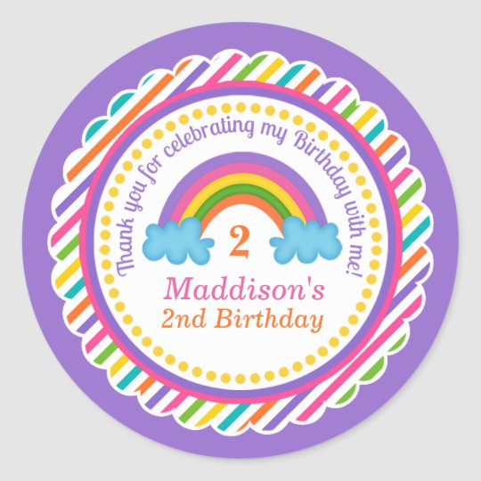 Bright rainbow kids girls birthday stickers favour