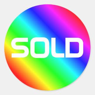 Bright Rainbow Modern Bold Typography Custom Sold Classic Round Sticker