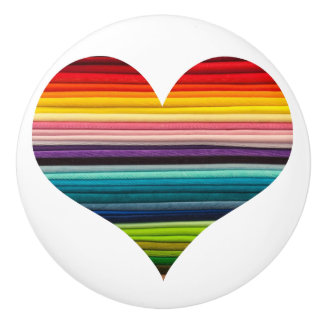 Bright Rainbow of Many Colors Heart Design Ceramic Knob