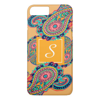 Bright Rainbow Orange Paisley Monogram iPhone 8 Plus/7 Plus Case