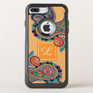 Bright Rainbow Orange Paisley Monogram OtterBox Commuter iPhone 8 Plus/7 Plus Case