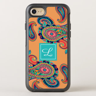 Bright Rainbow Orange Paisley Monogram OtterBox Symmetry iPhone 8/7 Case