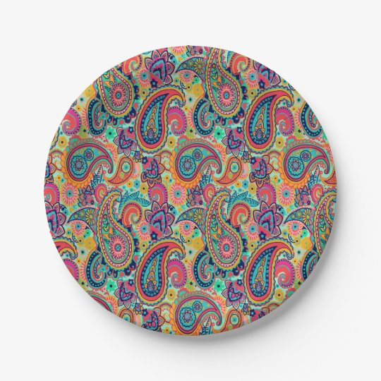 Bright Rainbow Paisley 7 Inch Paper Plate