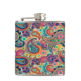 Bright Rainbow Paisley Flasks