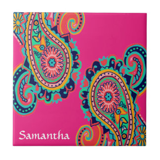 Bright Rainbow Paisley Monogram Tile