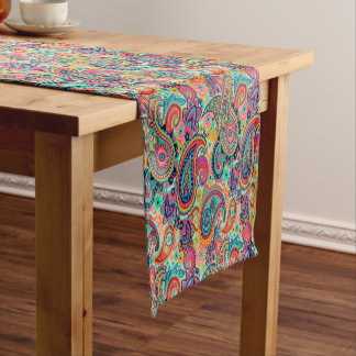 Bright Rainbow Paisley Short Table Runner