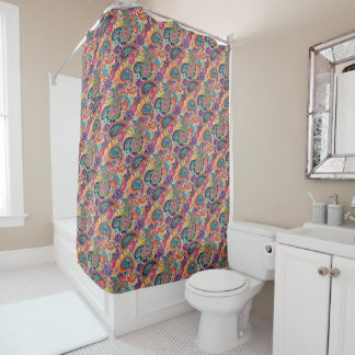 Bright Rainbow Paisley Shower Curtain