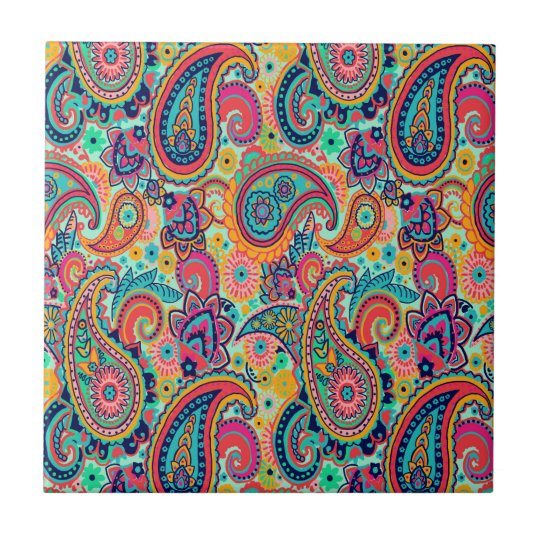 Bright Rainbow Paisley Tile