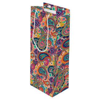 Bright Rainbow Paisley Wine Gift Bag