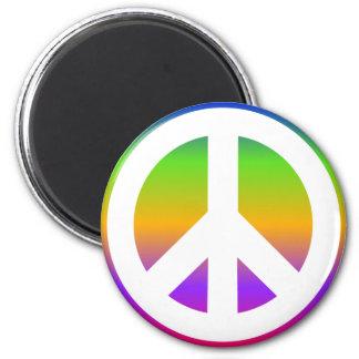 Bright Rainbow Peace Sign Magnet