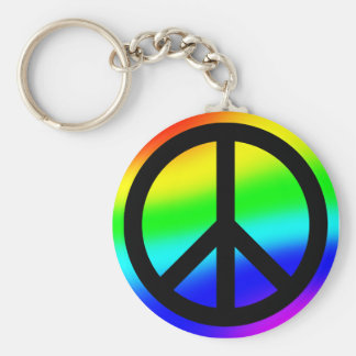 Bright Rainbow Peace Symbol Basic Round Button Key Ring