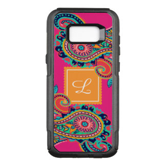 Bright Rainbow Pink Paisley Monogram OtterBox Commuter Samsung Galaxy S8+ Case