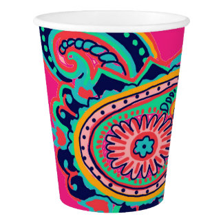 Bright Rainbow Pink Paisley Paper Cup