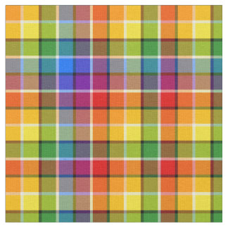 Bright Rainbow Plaid Pattern Fabric