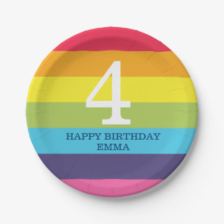 Bright Rainbow Stripe Birthday Name  Number Plates 7 Inch Paper Plate