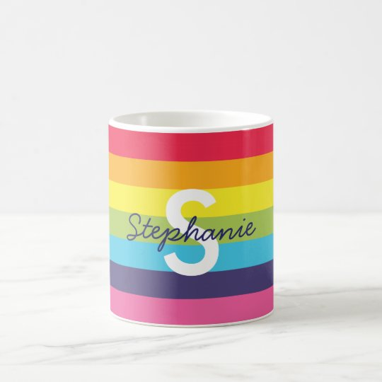 Bright Rainbow Stripe Initial Name Mug