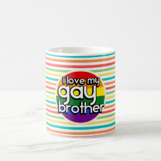 Bright Rainbow Stripes; Gay Brother Coffee Mug