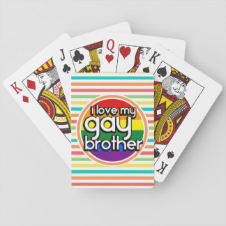 Bright Rainbow Stripes; Gay Brother Playing Cards