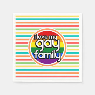 Bright Rainbow Stripes, Gay Family Disposable Napkin