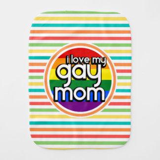 Bright Rainbow Stripes, Gay Mom Burp Cloths