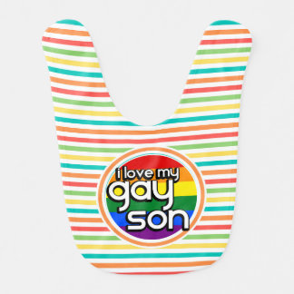 Bright Rainbow Stripes, Gay Son Bibs